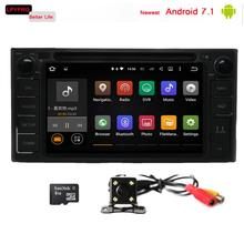 Newest android 7.1 car gps navi dvd for toyota Hilux Terios Land Cruiser 2GB RAM 16GB ROM mirror link DAB RDS LPYFRG