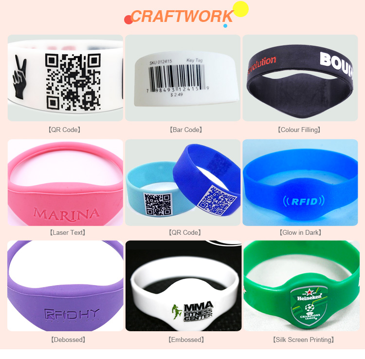 HYWGJ02 Fudan F08 Debossed and Ink Filled RFID Wristband