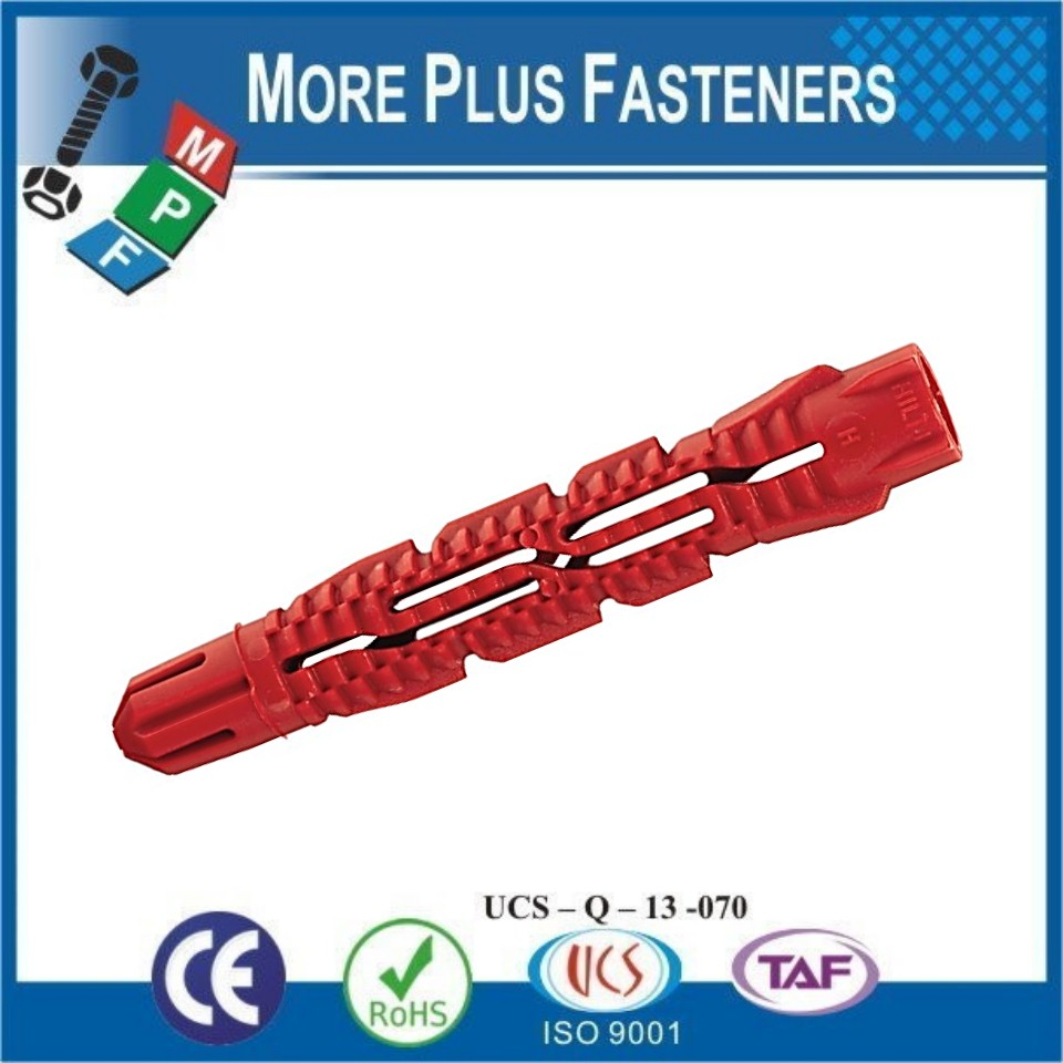 Made in Taiwan Universal Plastic Ribbed Long Conical Wall Plug Anchors