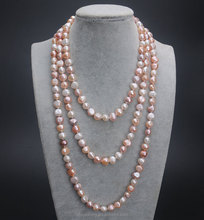 "Wholesale 63"" Mixed Color 9-10mm AA Flat Freshwater Baroque Pearl <strong>Necklace</strong>"