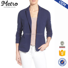OEM Women Navy Back Vent Unlined Knitted Blazer Jacket