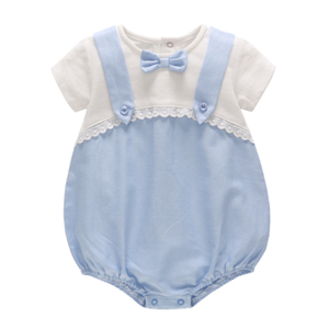 Eco-friendly wholesale kids romper soft adult baby cotton romper with bowknot