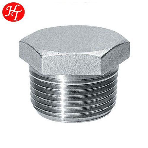 China stainless steel casting pipe fittings male thread hexagon plug