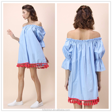 2017 Hot new fashion blue off shoulder dress names short sleeve casual dress