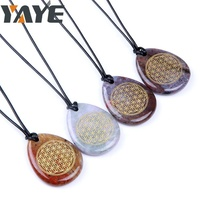 Natural Indian Agate Teardrop Shaped Engraved Pendant Flower of Life for Wholesale