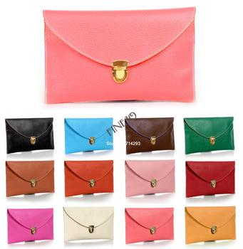 2015 new fashion women's envelope synthetic clutch bag 12 Colors wholesale leather clutch bag 13255