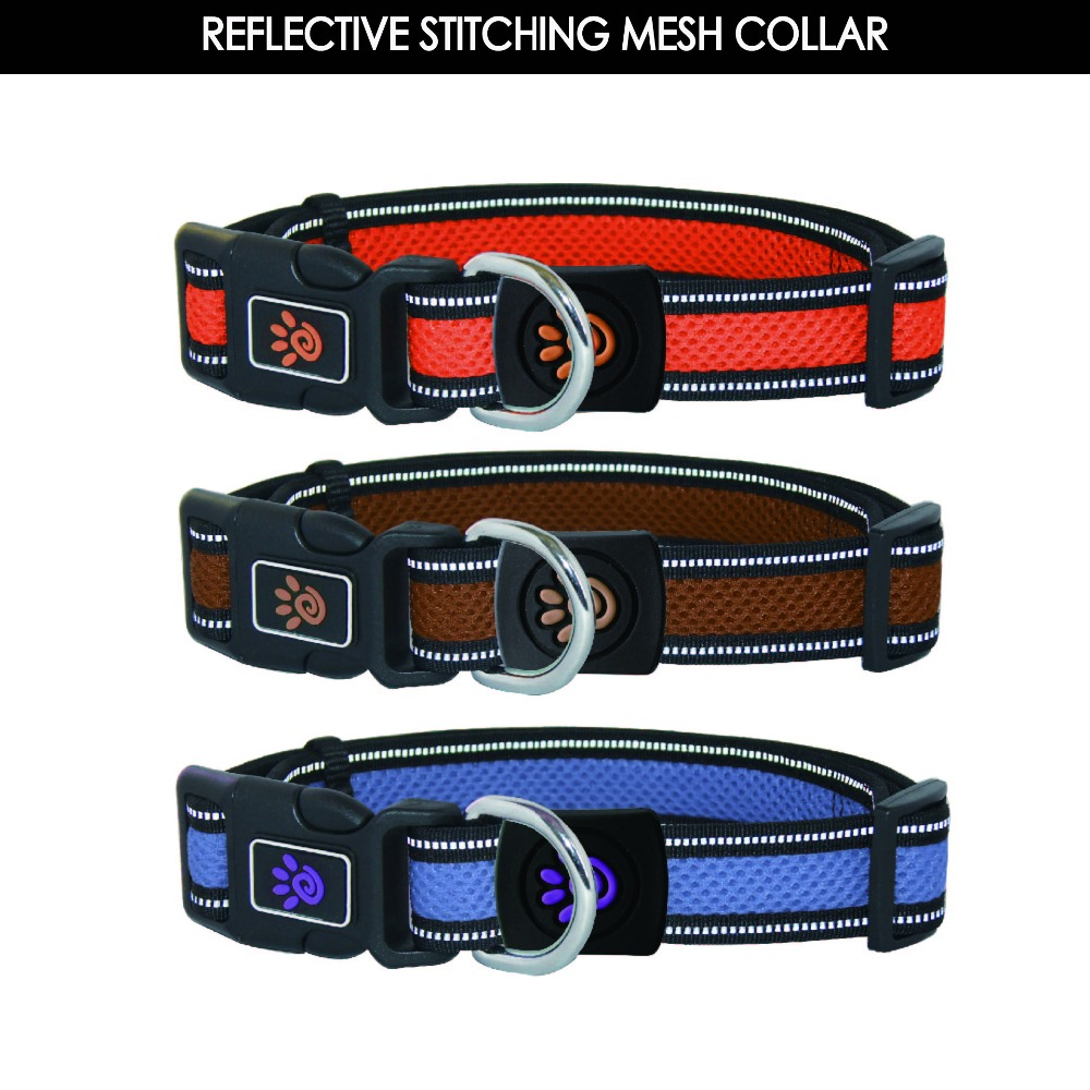 Reflective Air Mesh Led dog training Collar with name plate Middle Lime