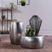 Contemporary Industrial Style Aluminum Metal Drum Side Table