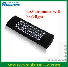 Best Seller Mx3 Air Mouse Backlit Keyboard 2.4G Wireless Fly Mouse Support Ott Tv Box
