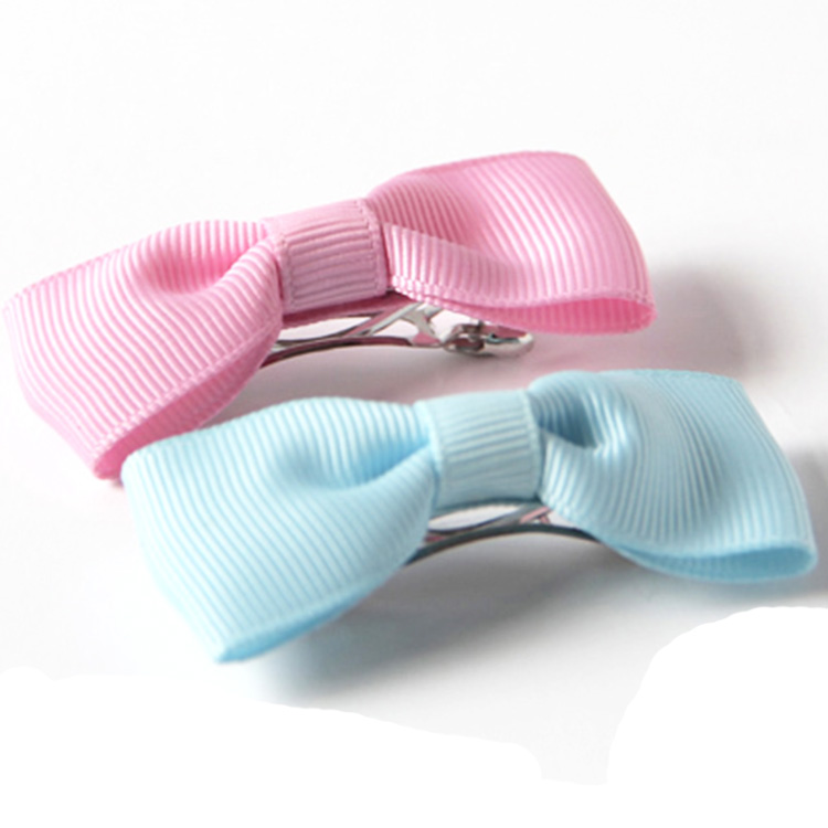 xiamen Pink light blue grosgrain bow with French barrette clip