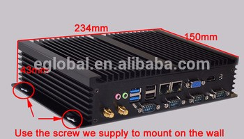 Mini PC Linux XBMC Support Industrial computer Celeron 1037U 2GB RAM 64GB SSD with Dual RJ45 and 4 COM RS232 Port 1* VGA+ 1* HDM