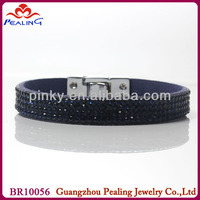 beaded rhinestone stud synthetic leather bracelet cord