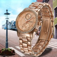 2015 Wholesalers China Gold Watch Women Rose Gold Hand Clock KY086 KINGSKY
