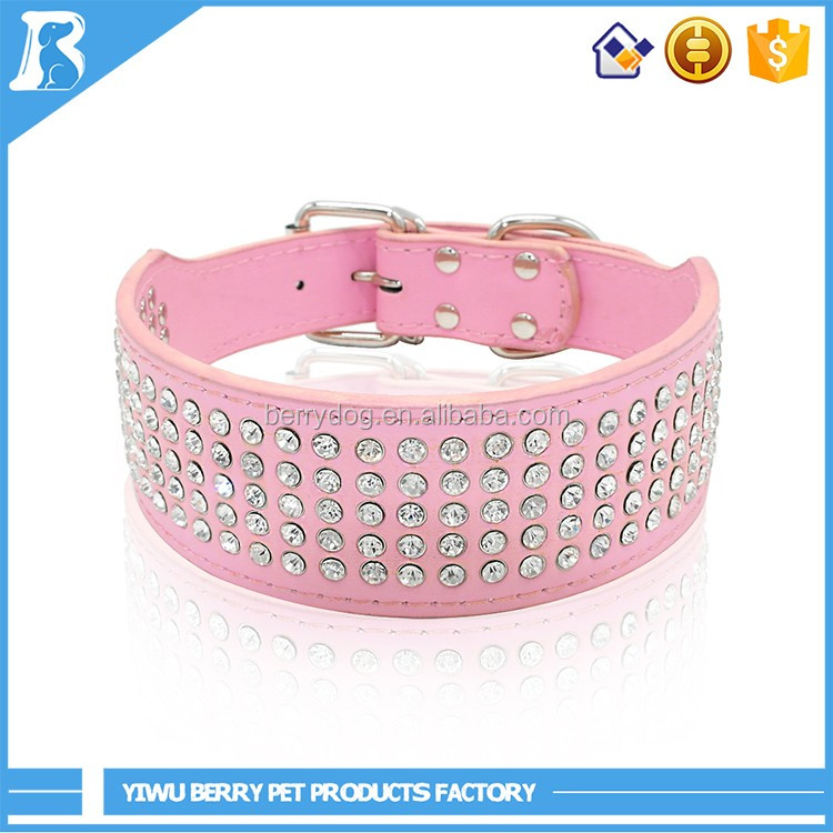 8 Colors 2 inch Wide 5 Rows Full Diamante Rhinestone leather dog collar