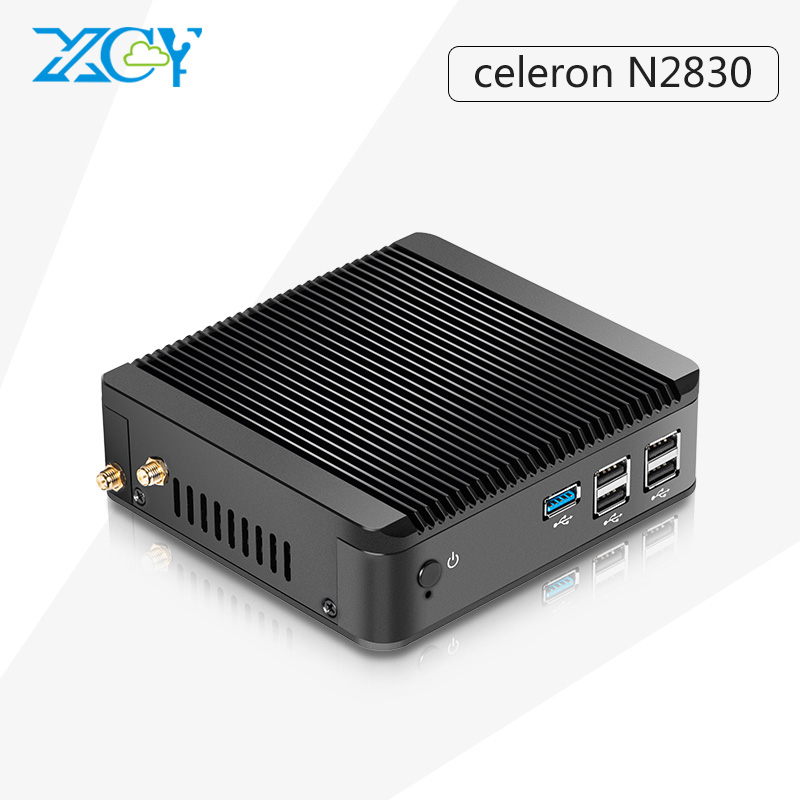Cheapest XCY Fanless Office Computer with Celeron N2830 Dual Core 2.16GHz 2G RAM 128G SSD Windows10 Support Build-in-Buletooth