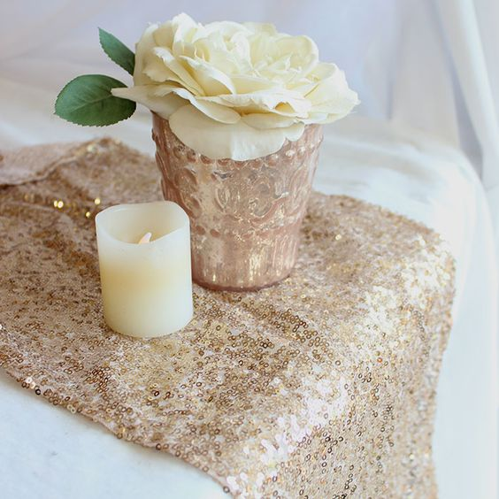 factory Nice glitter heavy beaded metallic sequence rose gold sequin table runner