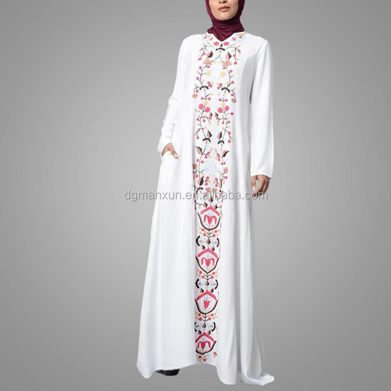 Islamic Abaya Turkey Long Casual Kaftan Dress Modest Embroidery Arab Dubai Abaya Wholesale Islamic Clothing