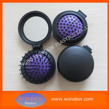 Fashionable new design round foldable hair brush mirror