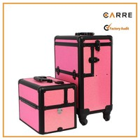 360 degree rolling wheels aluminum professional makeup trolley case