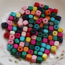 Supply Mix Colors African Cube Square Wood Beads Natural Wooden Bracelet Necklace Jewelrys DIY 5MM 6MM 8MM