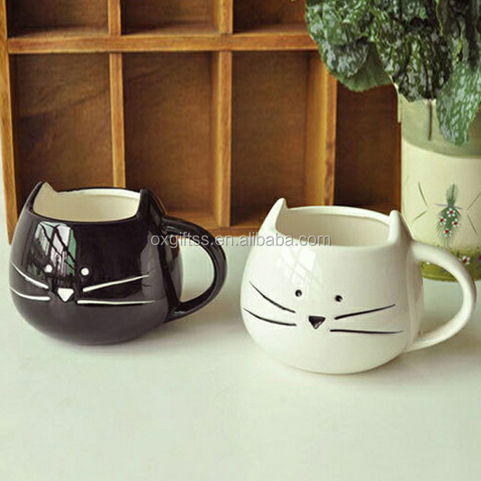 OXGIFT China Supplier Wholesale Manufacturing Factory Price Amazon Couple Black white cat Ceramic milk Coffee Mug <strong>cups</strong>