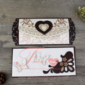 Beautiful Heart Shape Laser Cut Wooden Wedding Invitation Card