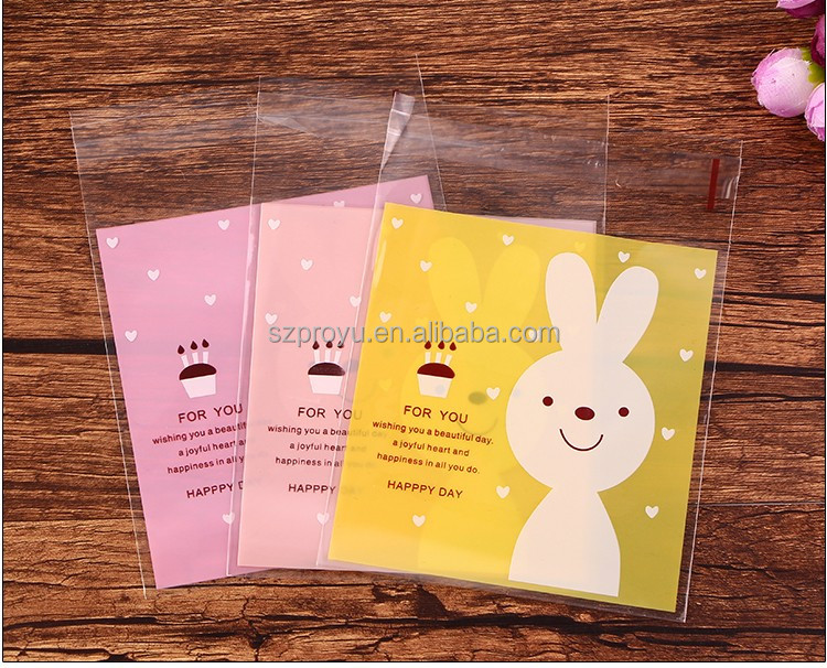 Cute Colorful Rabbit Printing Plastic Self-adhesive Gift Bags