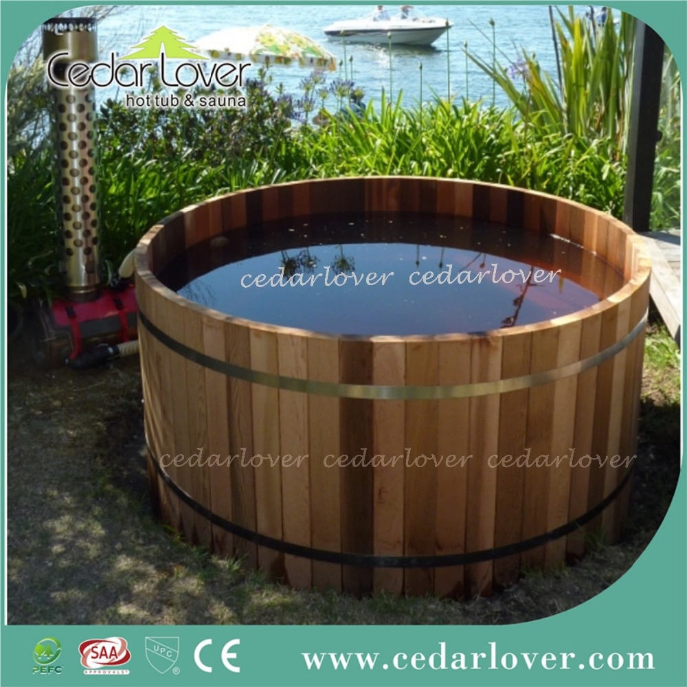 Round wood fired cedar hot tub buy cedar hot tub wood for Outdoor bathtub wood fired