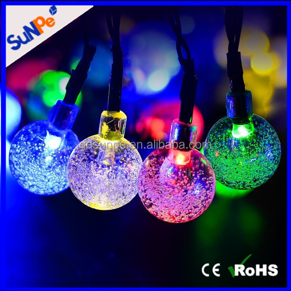 Outdoor Garden Decoration LED Waterproof Crystal Ball Solar Powered Street String Light
