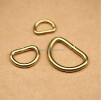 Length 32 MM 4.5mm thick D Ring Pure Brass Hook Dee Loop Buckle Handbag Hardware Findings Belt Buckle Leather Accessories