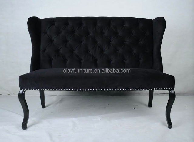 Hot sale black velvet wing back wooden loveseat,Norway hot sale chaise lounge two seat sofa