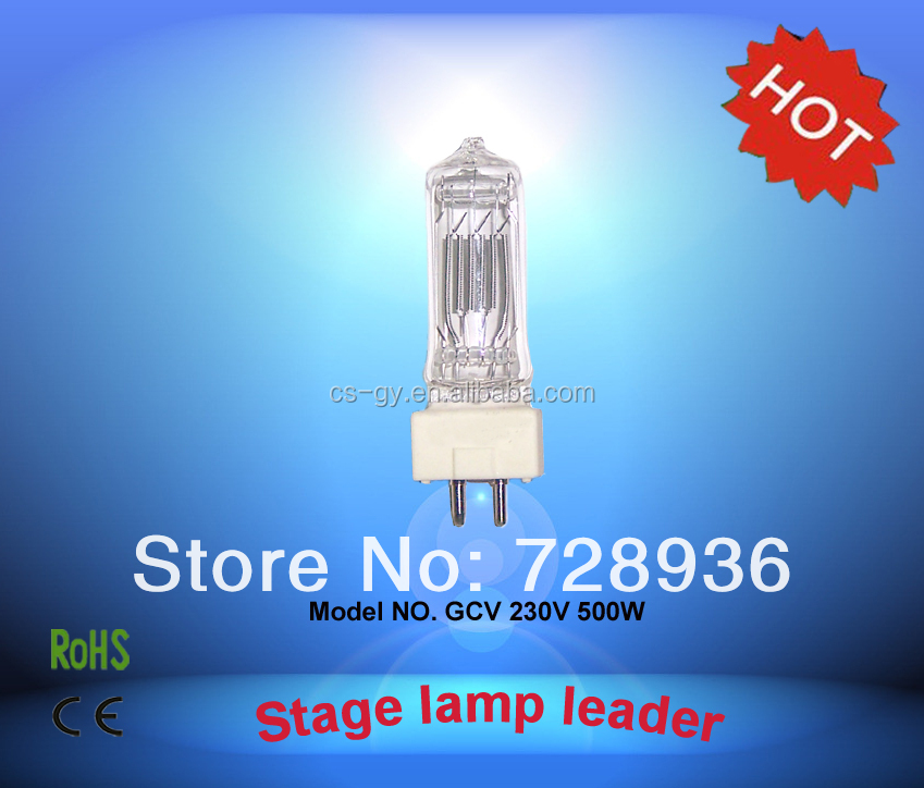 Hot selling quartz glass 230V GY9.5 base halogen lamps GCV 500W