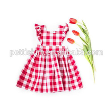 Girls Party Wear Dresses Cotton Red Ginghams Summer Frocks