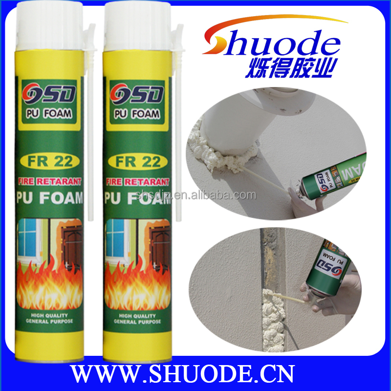 Fire rated pu foam sealants aerosol can high rigid pu padding foam properties