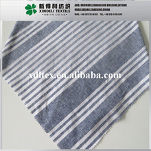 Hign quality woven blue and white stripe cotton linen fabric