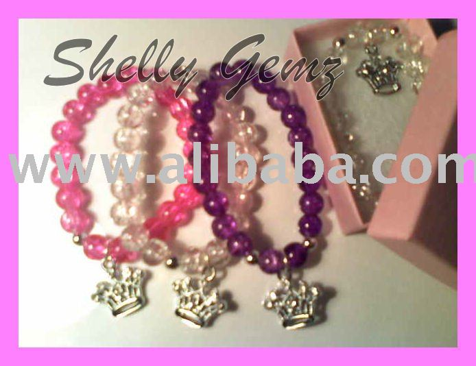 SHELLY GEMZ SILVER PLATED BEADED CHARM BRACELET