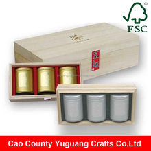 Custom Made Unfinished Small Wooden Gift Packaging Box For Tea Tins