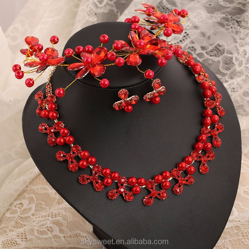 Happy red bridal accessories jewely,red pearls plated jewelry sets wholesale(SWTPR691)