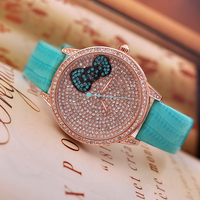 Rhinestone Hello Kitty Women Watch Luxury Ladies Genuine Leather Watch