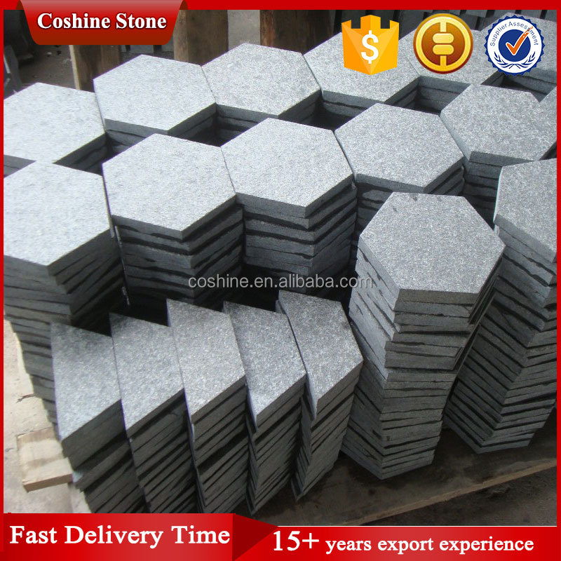 Black basalt stone pearl black g684 granite hexagon tile