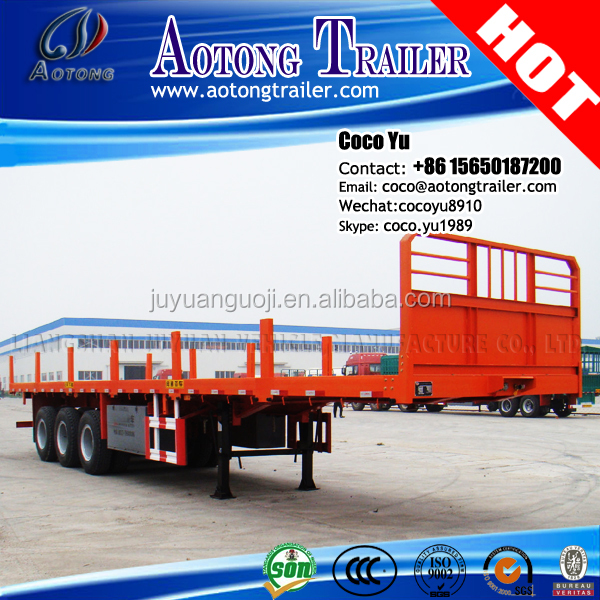 2016 New 50ton High quality Tri Axles 40ft container transporting Flat Deck Trailers truck with pitching pile bars