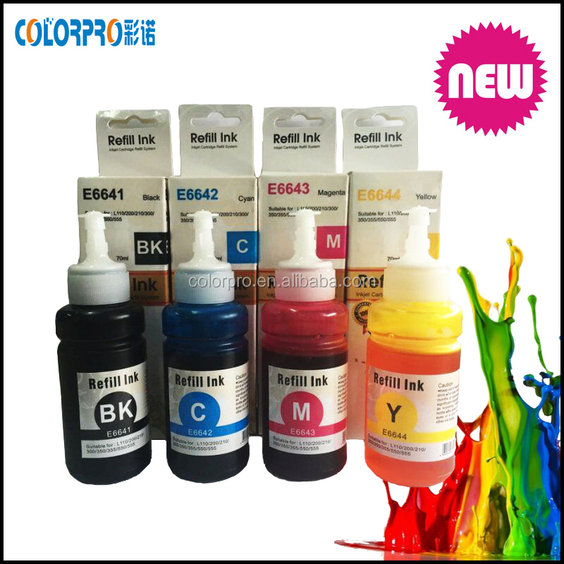 4 Refill 70ml dye Ink for Epson L800 L100 L110 L200 L210 L355 L555 printer for Epson T664 T774 for epson Expression EcoTank