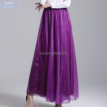 Women Boho Maxi Long Skirts pure Colors fashion high waist Summer Beachwear Ladies Elegant Jupe cheap pleated skirt