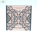 Vintage floral moroccan wedding laser cut invitations black
