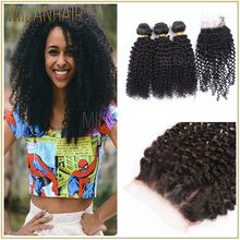 7A Brazilian Kinky Curly Virgin Human Hair With Lace Closure 3 Bundles With Closure Brazilian Virgin Hair With Closure