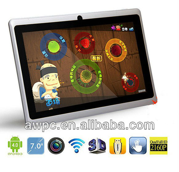 "Hot Sale! 7"" Allwinner A13 Q88 tablet pc capacitive Screen + android 4.0 + Multi Touch + 1.2GHz 512MB 4GB + Webcam + Wifi + HDMI"