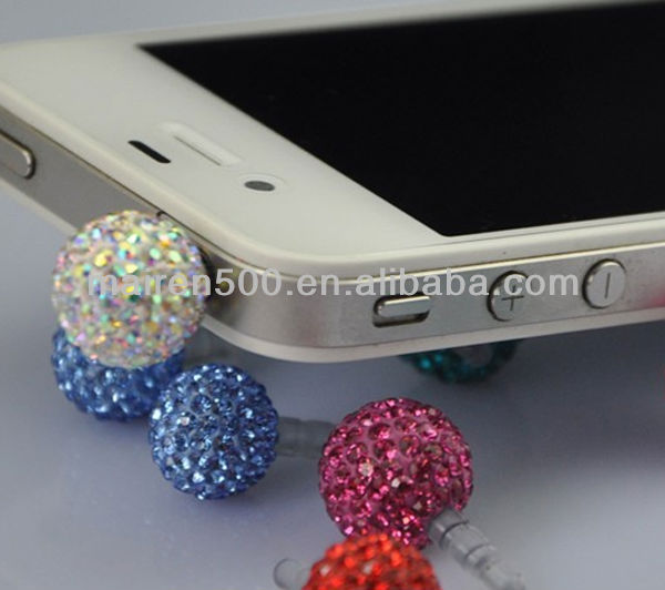 free shipping 14mm Colorful ball fashion dust proof plug for iphone