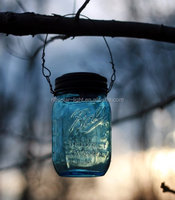 Hanging Blue Mason Jar Solar Powered Lantern Lamp Light Design Wedding Decor Garden Lantern Pathway Jar Light