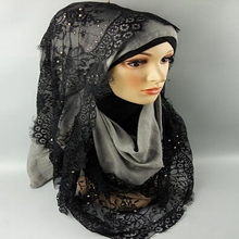 Fashion high quality women head wear printed polyester lace stylish muslim hijab lady style arab hijab wholesale black hijab