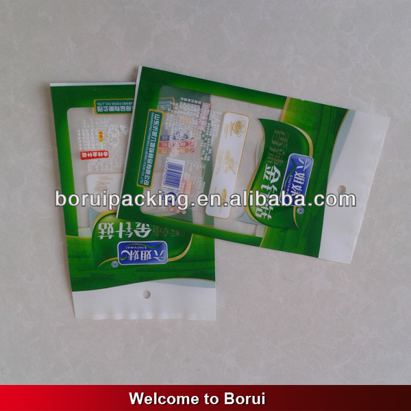 clear plastic plain bag with handles for pickled products,flat bag with clear window,